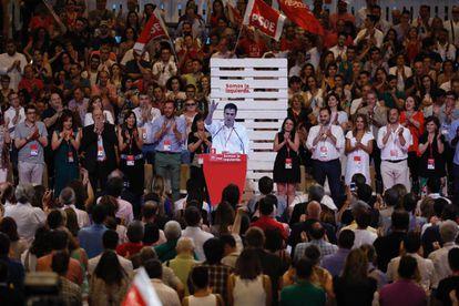 Pedro Sánchez, durante la clausura del 39.º Congreso Federal del PSOE en junio de 2017.