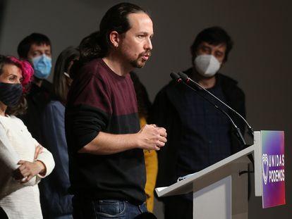 El candidato de Unidas Podemos a la presidencia de la Comunidad de Madrid, Pablo Iglesias, la noche electoral del pasado 4 de mayo.