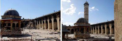 Dos imágenes del Alepo Media Center muestran, a la izquierda, la mezquita hoy, sin minarete, y a la derecha, el pasado 6 de marzo.