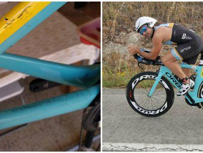 El triatleta mallorquín Carlos López y, a la izquierda, los daños en su bicicleta.