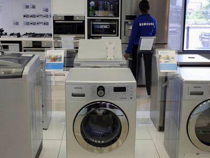 Lavadoras en una tienda de electrodomésticos.