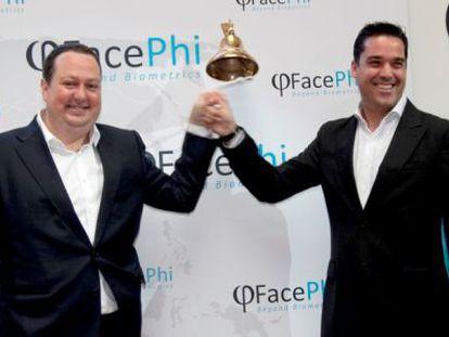 Salvador Martí (izquierda) y Javier Mira, máximos responsables de Facephi y antes de F7, el día de su salida al MAB.