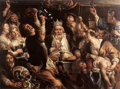 'El rey bebe', óleo de Jacob Jordaens.
