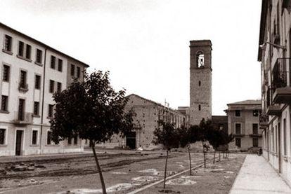 La iglesia de Sant Marcel·lí en construcción a finales de los cincuenta.