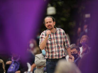 Pablo Iglesias, en un acto de la campaña para las elecciones del 4 de mayo a la Asamblea de Madrid en la que es candidatos por Unidas Podemos.