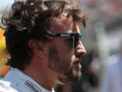 Fernando Alonso, antes de comenzar el GP de Hungría.