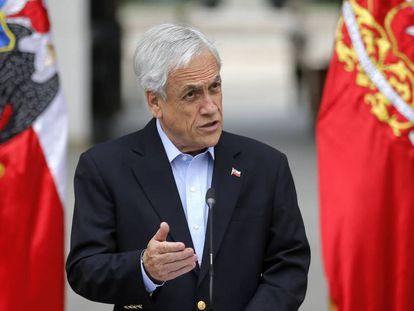 El presidente chileno Sebastián Piñera, durante un mensaje a la nación, en Santiago.