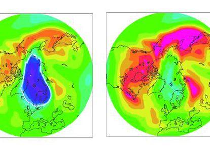 A la derecha, situación de la capa de ozono sobre el Ártico en abril de 2011. A la izquierda, como sería sin el Protocolo de Montreal. La barra de la derecha mide la cantidad de ozono.