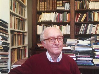 Luigi Ferrajoli, en su estudio en Roma, el 27 de marzo. Foto cedida por él.
