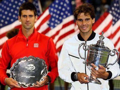 Djokovic y Nadal después de la finalm del Abierto de Estados Unidos.