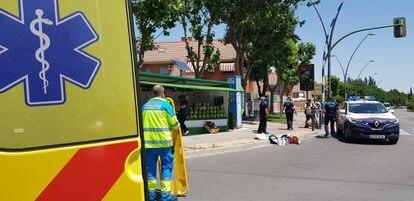 Un usuario de un patinete herido muy grave al chocar contra un puesto en Getafe (Madrid) el pasado 13 de junio.