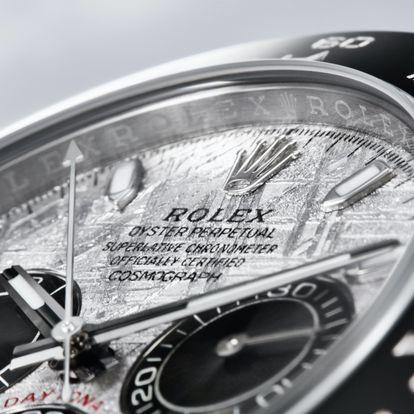 Detalle de la esfera de meteorito del nuevo Oyster Perpetual Cosmograph Daytona de Rolex.