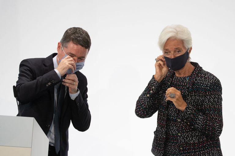 El presidente del Eurogrupo, Pascal Donohoe, y la jefa del BCE, Christine Lagarde, el pasado mes de septiembre en Berlín.
