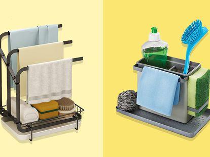 Dos ejemplos de organizadores discretos y estilosos para mantener todo en orden y limpio en el fregadero de la cocina.
