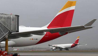 Un avión de Iberia, compañía del grupo IAG, en una imagen de archivo.