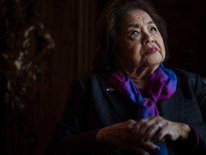 La japonesa Setsuko Thurlow superviviente de Hiroshima, en Casa de América, en Madrid.