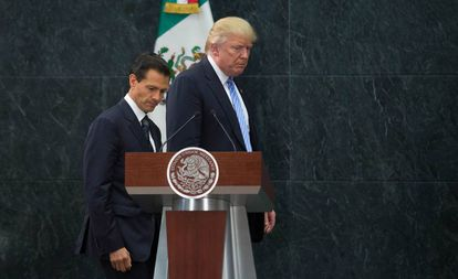 Peña Nieto y Trump el 31 de agoto de 2016 durante la polémica visita del entonces candidato a la Casa Blanca a México.