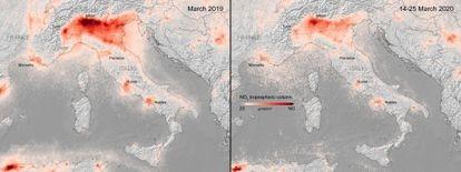 Concentración de dióxido de nitrógeno sobre Italia antes y después del cierre del país.