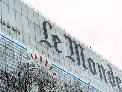 La fachada de la sede de 'Le Monde', en París