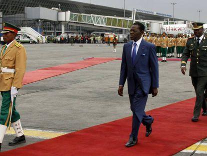 Teodoro Obiang, en febrero en el aeropuerto de Adís Abeba (Etiopía).