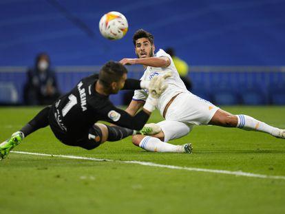 Marco Asensio marca el tercer gol del Real Madrid al Mallorca, su segundo tanto de la noche.