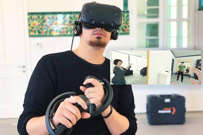 Equipo de realidad virtual y una de las escenas recreadas en VRespect-me, de Virtual Bodyworks