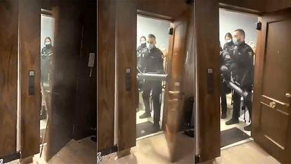 La entrada de los policías nacionales el 21 de marzo en la fiesta ilegal de la calle Lagasca de Madrid.