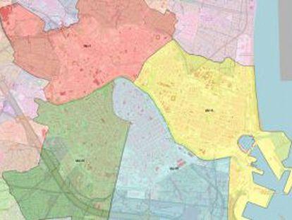 Mapa de las nuevas zonas escolares de Valencia.