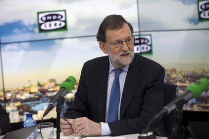 Mariano Rajoy, durante la entrevista en 'Más de uno'. de Onda Cero.