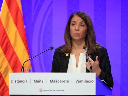 La consejera de Presidencia y portavoz del Govern, Meritxell Budó, en rueda de prensa telemática de este martes.