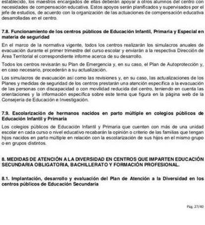 Recomendación de la Comunidad de Madrid a los colegios a la hora de escolarizar a los múltiples.