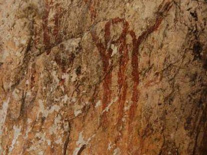 Figuras humanas pintadas en el Barranc de L'Infern, en la localidad alicantina de Vall de Laguar.
