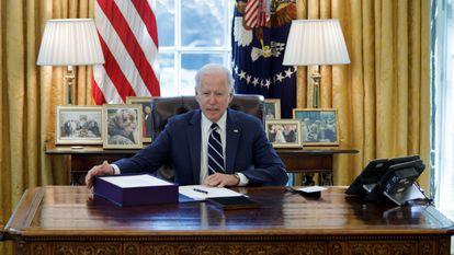 El presidente de Estados Unidos, Joe Biden, en el Despacho Oval.