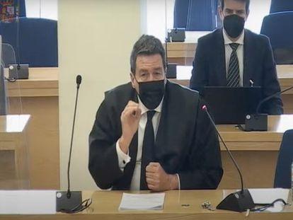 Gustavo Galán, abogado de Luis Bárcenas, durante su informe final en el juicio de la caja b del PP.
