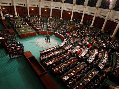 La Asamblea de Representantes del Pueblo, durante la intervención del primer ministro, Elies Fajfaj, este miércoles 26 de febrero.
