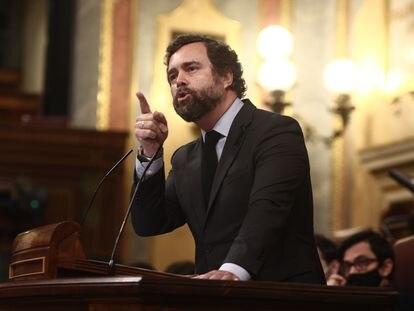 El portavoz parlamentario de Vox, Iván Espinosa de los Monteros, durante su intevención en el pleno del Congreso el pasado día 17.