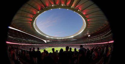 La vista del estadio Wanda Metropilitano desde el interior.