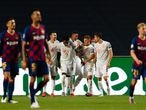Lisbon (Portugal), 14/08/2020.- Bayern Munich's Joshua Kimmich (C-R) celebrates with his teammates after scoring a goal against FC Barcelona during the UEFA Champions League quarter final soccer match held at Luz Stadium in Lisbon, Portugal, 14 August 2020. (Liga de Campeones, Lisboa) EFE/EPA/TIAGO PETINGA