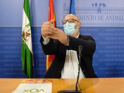 El portavoz y diputado de VOX en el Parlamento andaluz, Alejandro Hernández, durante la rueda de prensa.