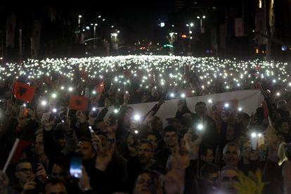 Protesta en Tirana contra el Gobierno de Albania, el 2 de marzo de 2020.