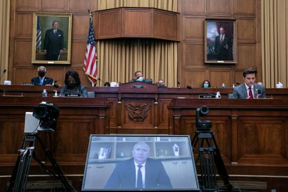 Un momento de la declaración por videoconferencia de Jeff Bezos ante el Congreso de EEUU.