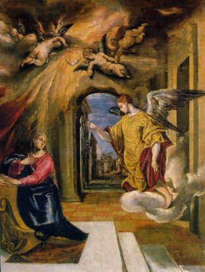 Fragmento de 'La Anunciación' de El Greco, una de las obras en litigio-