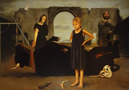 Septeto para un roedor (óleo sobre tela, 1996) Crédito: página web de Arturo Rivera.