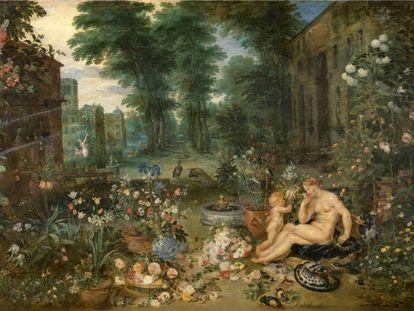 En 'El olfato', de Jan Brueghel el viejo y Pedro Pablo Rubens. Eduardo Barba ha identificado más de 60 especies. |