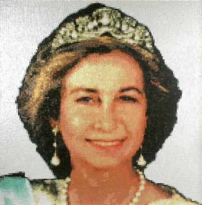 Retrato de la reina Sofia hecho por el grupo Mondongo.