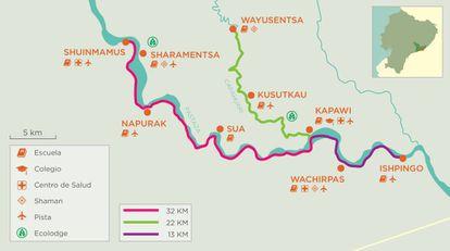 Las nueve comunidades que recorrerá la canoa solar (Mapa cedido por Kara Solar).