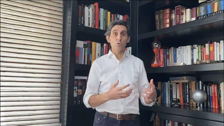 José María Álvarez-Pallete,  en un mensaje a los trabajadores  desde su domicilio.