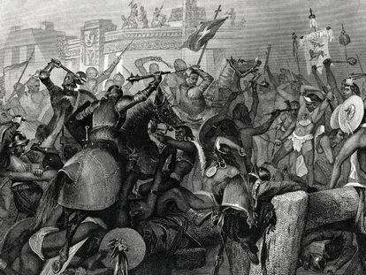 Un grabado de 1869 sobre la conquista de México.