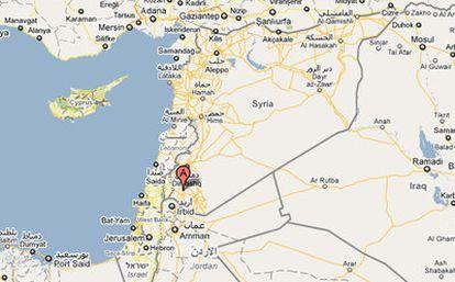 Mapa que muestra la ubicación de Deraa, en el sur de Siria, frontera con Jordania