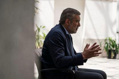 Enrique López, durante la entrevista.